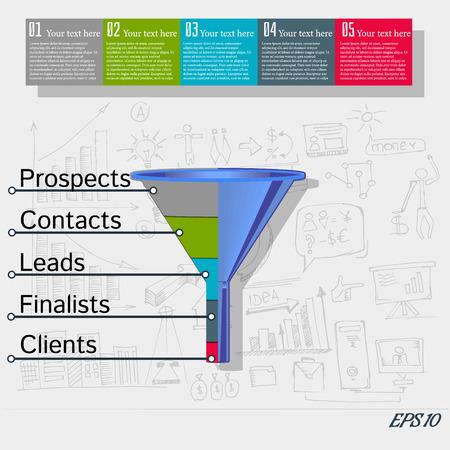 Conversion sales funnel, flat illustration on the background of business Doodle Illustration