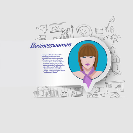 Elements for design business woman on background doodles Vector