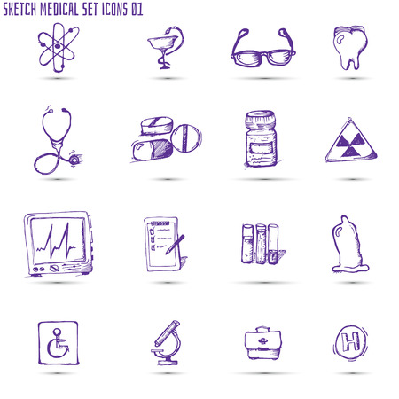 sketched medical icon set. Can be used for infographics, white background Vector
