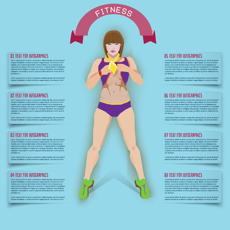 underweight: info graphics health diet. Business woman at the gym.