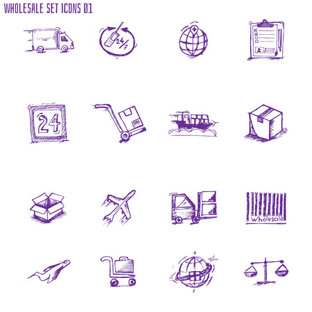 freight transportation: Sketch vector black logistics and shipping icons set. All white areas are cut away from icons and black areas merged. Illustration