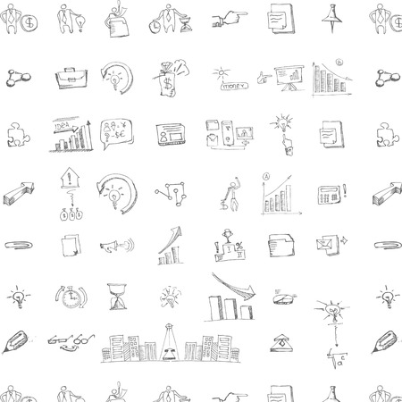 briefing: Seamless pattern with collection of icons and symballs with hand-drawn doodles people. Good design elements for funny presentation. Black and white vector illustration.