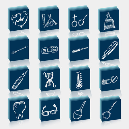 medical sketches of icons painted on the die Vector
