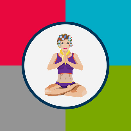 Yoga flat illustration, woman in curlers in padmasana posture, may be used as a banner card infographics Vector