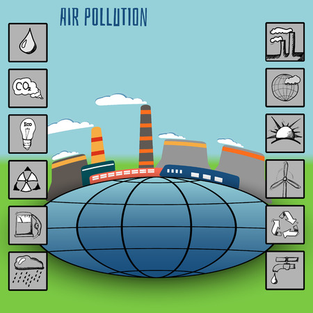 utilized: smoke emissions into the atmosphere, flat icons ecology can be utilized for presentation and Infographic Illustration