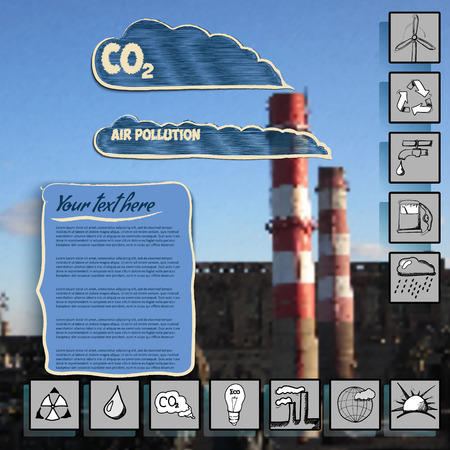 emission of smoke into the atmosphere, flat icons ecology, can be used for infographics on blurred factory Vector