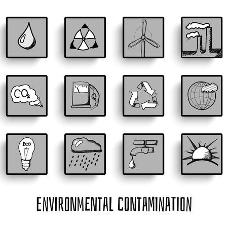 kwaśne deszcze: Zestaw ekologii rysowane ręcznie doodles ikony