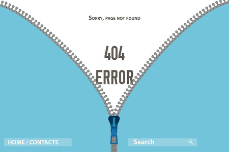 Zipper on clothing unbuttoned and there Page Not Found Error 404 Illustration