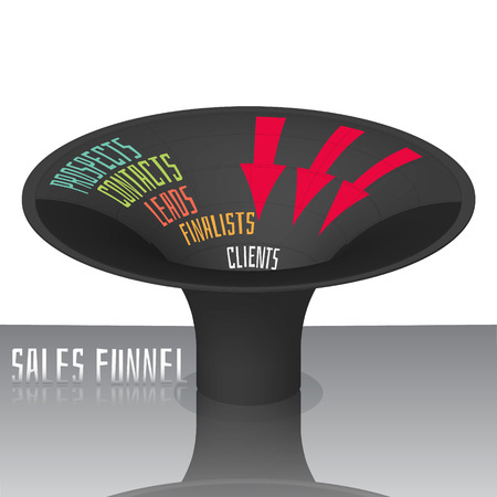 leads: Sales funnel for infographics 3D. Vector illustration.