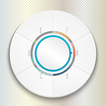 Infographic six steps with progress bar. Circular puzzle. Can be used for diagram, layout, options, steps, web design, infographics. Vector