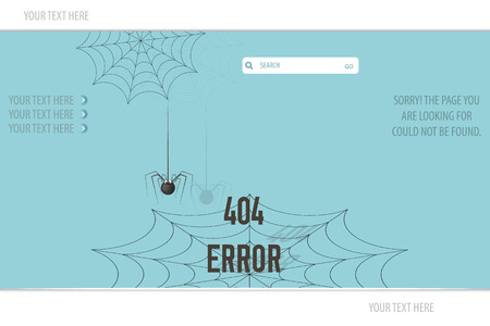 Page Not Found Error 404, spider on the web, on a blue background Vector