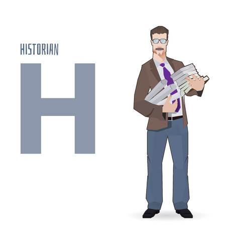 historian: flat vector profession Letter H - historian on a white background