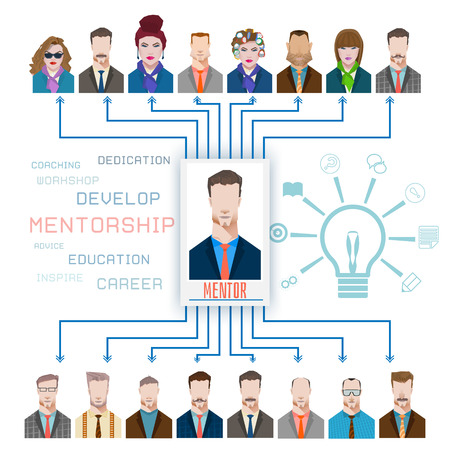 mentor: Group of Business People Learning With the Help of Their Mentor Illustration