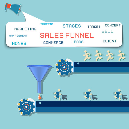 sales process: design concept Sales funnel for infographics.  Vector illustration.