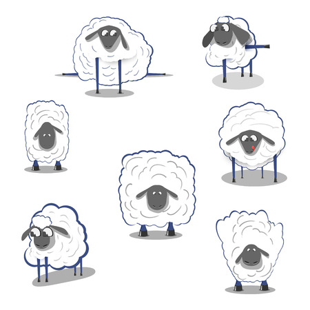 flock of sheep: Sheep on a white background, icons doodles