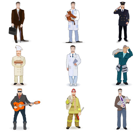 Character icon flat profession set  isolated vector illustration. on a white background Ilustração