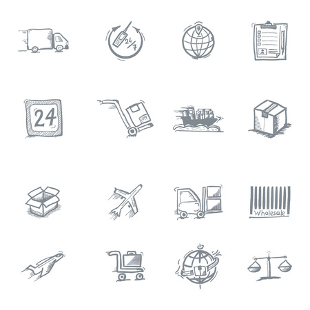 loading dock: Wholesale icons, sketch on a white background