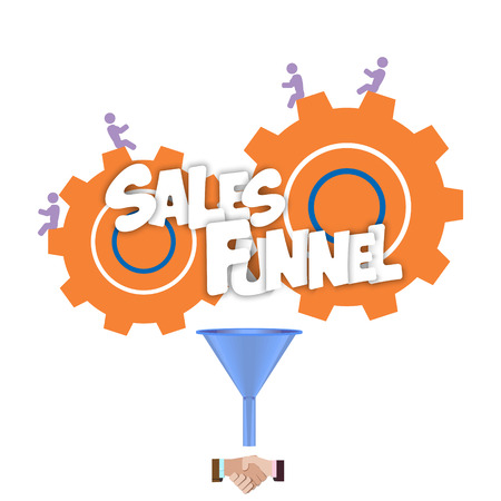 sales process: Sales funnel for infographics on a on a yellow background. Vector illustration. Illustration
