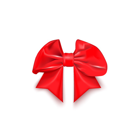 shiny satin red bow with ribbon on a white background Vector