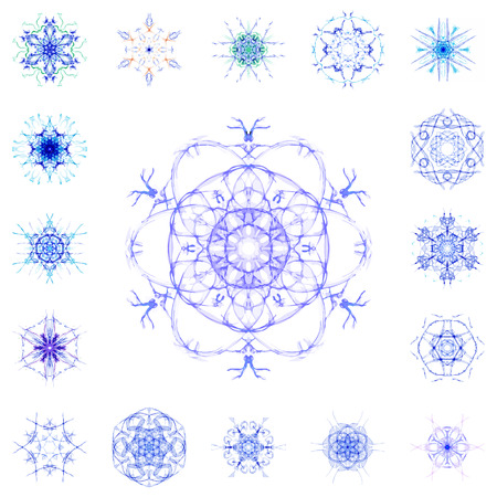 set of watercolor circular patterns, isolated on white background Vector