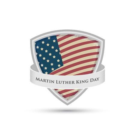 Martin Luther King Tag Abzeichen der amerikanischen Flagge Schild isoliert auf weißem Hintergrund Standard-Bild - 34908757