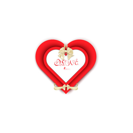 slantwise: heart tie bows gift, gift card with love on a white background