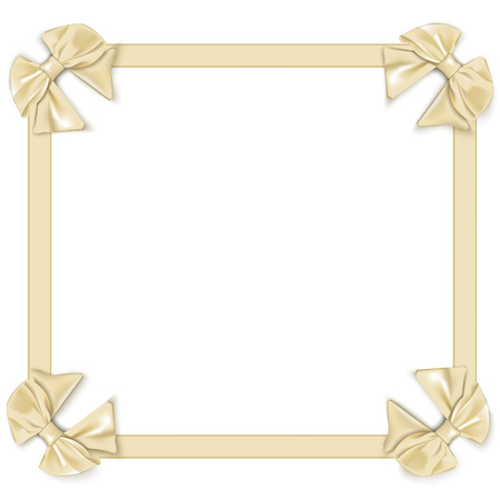 ribbons and bows: frame with satin ribbons with bows, isolated on white background Illustration