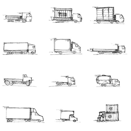 commercial van: Freight doodles icons isolated on a white background sketches Illustration