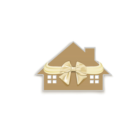 house with a bow as a gift isolated on white background, Keychain Illustration