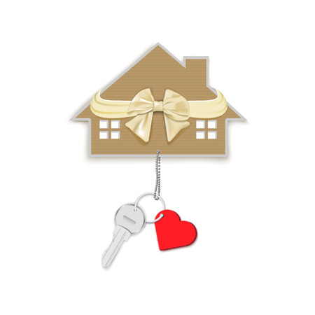 Gift key with heart on a chain and a house with a bow isolated on a white background