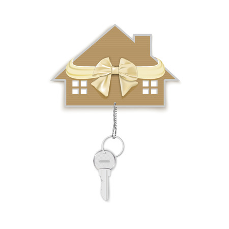 floating market: gift key chain and at home with a bow isolated on a white background Illustration