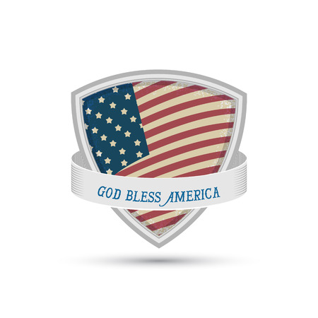 bless: god bless america American flag shield icon on a white background Illustration