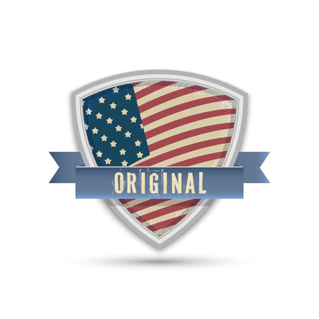 Original American quality flag shield isolated on white background Vector