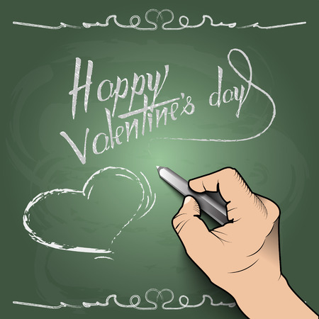 Happy Valentines Day, 3d hand draws a heart on the board EPS10 Vector