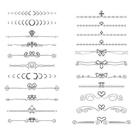 Doodles border separators text, isolated on white background