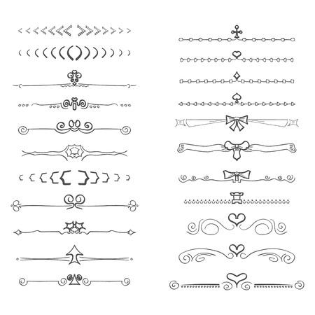 s�parateurs: Doodles texte s�parateurs frontali�res, isol� sur fond blanc Illustration