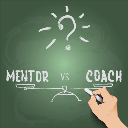 3d hand writing mentor or coach, against the background of blackboard Vector