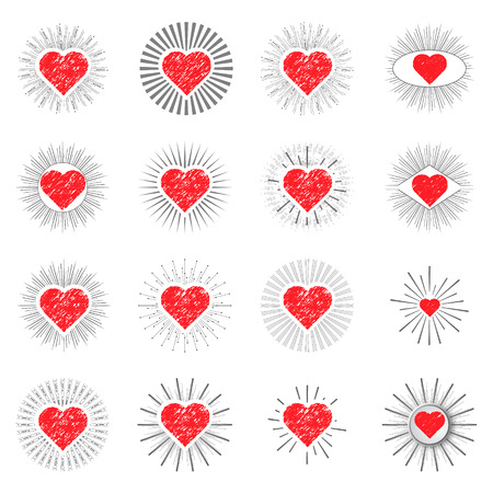 set red heart sunburst templates for labels on a white background Vector
