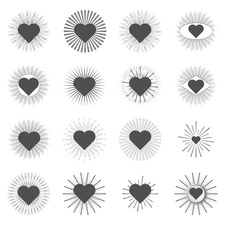 set heart sunburst templates for labels on a white background Vector