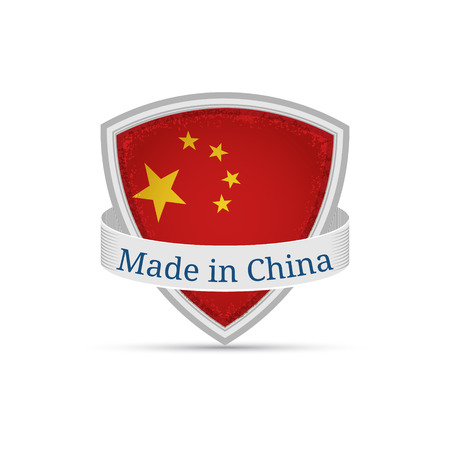 made in china: made in china, Chinese flag on the shield on a white background