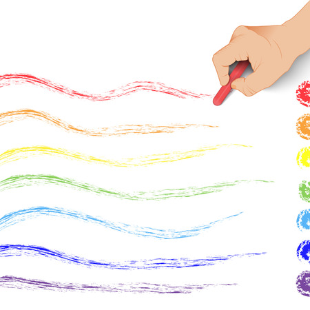 hand draws a rainbow of chalk Isolated on white background Vector