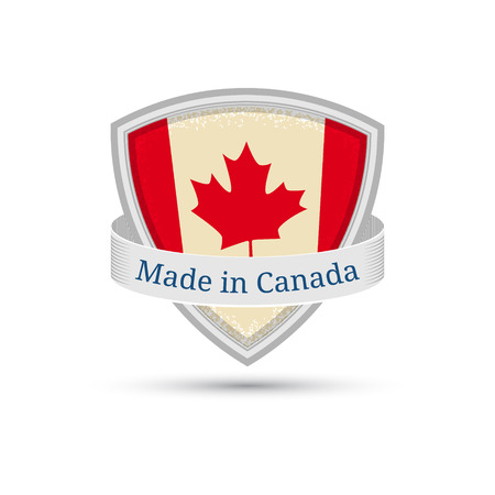 Made in Canada, Canada flag label on the shield EPS10 Vector