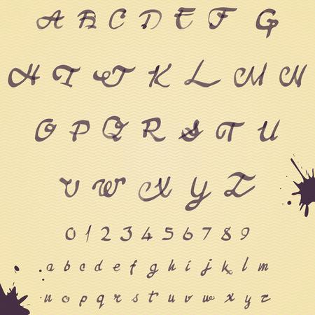 Watercolor handwritten alphabet. Numbers and symbols. Eps10 vector