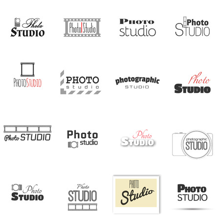 Vector collection of photography logo templates. Modern mass media icons. Photo labels. Illustration