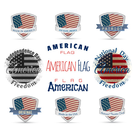 america flag independence patriot logo label ribbon shield Independence Day July 4th Made in America original lettering calligraphy. EPS10 Vector