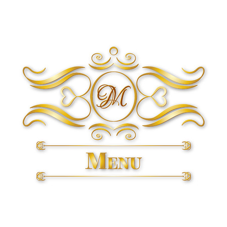 calligraphy monogram floral design, vintage pattern logo, EPS 10 Vector