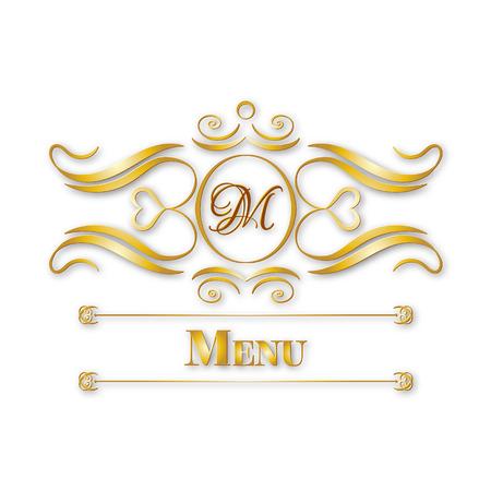 silver frame: calligraphy monogram floral design, vintage pattern logo, EPS 10 Illustration