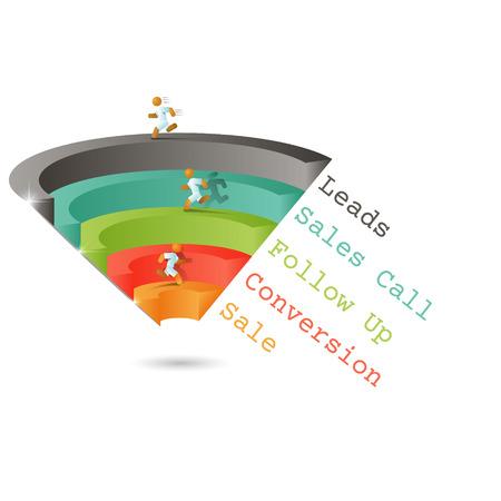 Lejek sprzedaży dla infografiki na szarym tle 3D. Ilustracji wektorowych.