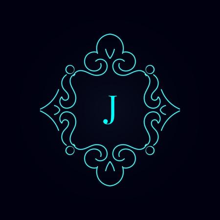 Calligraphy monogram floral design, vintage pattern logo letters j. EPS10 Vector