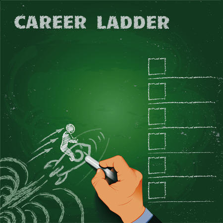 career ladder chalk on a blackboard business concept EPS10 Vector